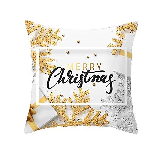 Funda de Cojín Decorativos Funda de Almohada Navidad Cuadrado Terciopelo Suave Cojines Decoracion con Cremallera Invisible para Sofá Cama Decoración Hogar Funda de Cojín M5500 Pillowcase+core,50x50cm