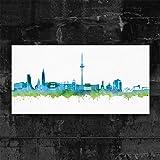 Kiel Skyline Stadt Blue by DiChyk (div. Größen) - Kunst Druck auf Leinwand - Bild fertig auf Keilrahmen ! Graffiti Like Banksy Art Gemälde Kunstdru (40x80cm)