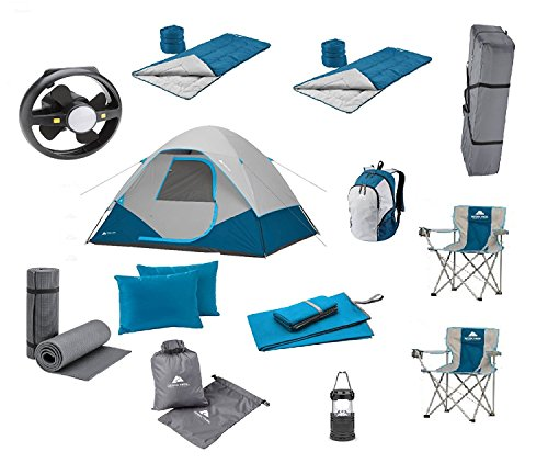 good! Camping Equipment Family Cabin Tent Sleeping Bag Chairs Hiking Gear Included