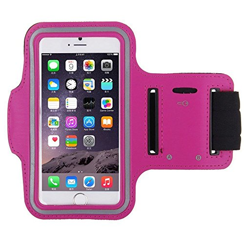 iPhone 6 4.7 Sport Armband Case for iPhone w/Key Holder Pocket Fully Adjustable Earphone Connection Best for Gym Sports Fitness Running All Kinds of Workouts for Man Woman for iPhone 6 4.7 Hot Pink