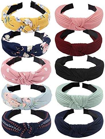 TOBATOBA 10 Pack Women Wide Headbands Knot Turban Headband Twist Wide Plain Headband Yoga Headband product image