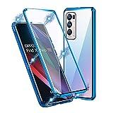 IEMY Hülle für Oppo Find X3 Neo, 360 Grad Magnetisch Dünn Metallrahmen Magnetische Adsorption Handyhülle Schutzfolie Vorne & Hinten Komplett Schutzhülle für Oppo Find X3 Neo (Blau)