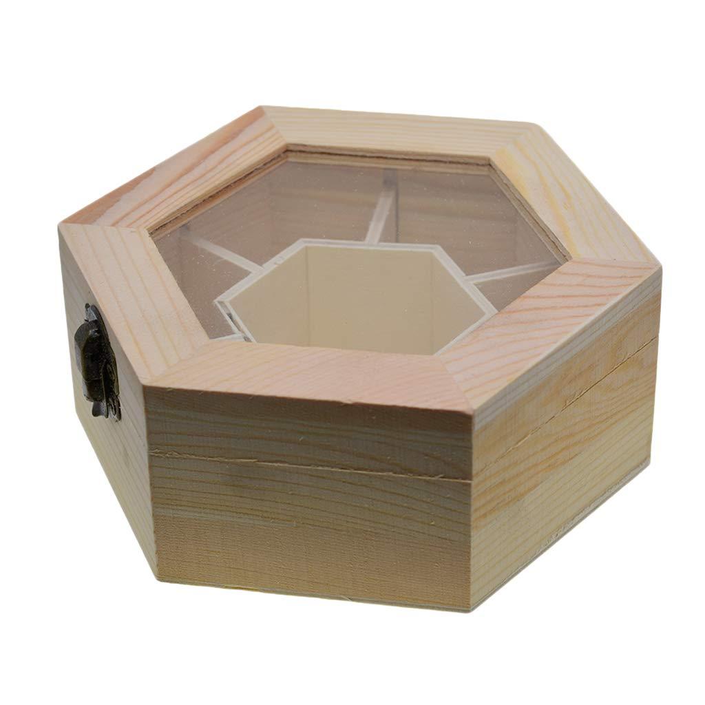 Sharplace Caja de Joyas/Cajas de Almacenamiento de Madera Hexagonal para Collar, Pulsera, Aretes, Reloj (5.9x4.7x2.4inch): Amazon.es: Hogar