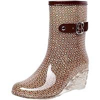 YWLINK Botas De Lluvia Mujer Botas De Nieve Estilo Punk TamañO Grande Zapatos con CuñA Transparentes Zapatos De Goma Zapatos De Agua Transpirable Calzado Industrial ConstruccióN(Caqui,36EU)