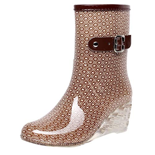 YWLINK Botas De Lluvia Mujer Botas De Nieve Estilo Punk TamañO Grande Zapatos con CuñA Transparentes Zapatos De Goma Zapatos De Agua Transpirable Calzado Industrial ConstruccióN(Caqui,39EU)