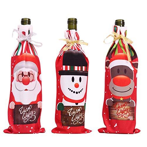 DMAIP 3 Unids/Set De Impresión Botella De Vino De Navidad Cubierta De Polvo Bolsa De Botella Decoración De Mesa Familiar Decoraciones Navideñas