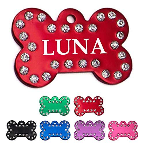 Iberiagifts - Hundemarke Knochen mit Strasssteinen und Gravur für mittelgroße bis große Hunde- Plakette für Hund und Katzen graviert personalisiert (Rot)