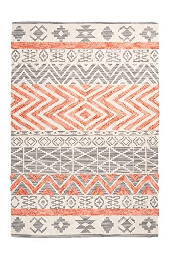 moebeldeal Teppich Ethno Muster, Läufer, Wohnzimmerteppich, Teppichläufer Flur, 100% Baumwolle, Grau/Apricot, Flachflor, 160cm x 230cm
