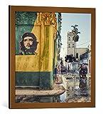Kunst für Alle Cuadro con Marco: Roxana Labagnara Grafitti La Habana Vieja - Impresión artística Decorativa con Marco, 60x60 cm, Cobre Cepillado