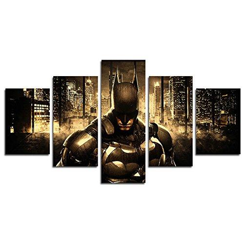 Lienzo impreso de YspgArt66 con 5 paneles de Batman, pintura artística de pared para el hogar, sala de estar, oficina, decoración moderna, regalo (sin marco)