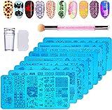 TopDirect Nail Art Stamping 10Pcs Placas Estampacion Uñas para Manicura +1pcs Estampador de Silicona + 1pcs Rascador + 1pcs Doble Cabezal Esponja de Uñas