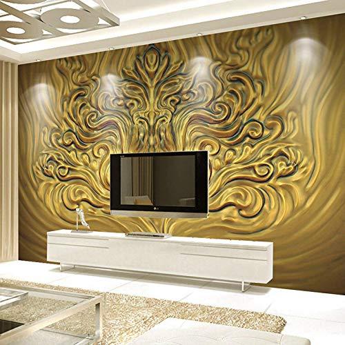 Msrahves Papel tapiz estéreo 3D Estilo europeo dorado belleza escultura. Fotomurales 3D XXL Papel pintado tejido no tejido Decoración de Pared decorativos Murales moderna Diseno Fotográfico