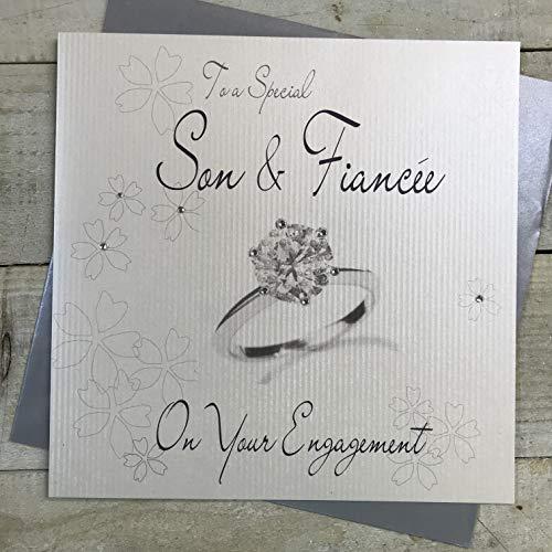 witte katoenen kaarten naar een speciale zoon & verloofde, handgemaakte verlovingskaart, code XLWB221