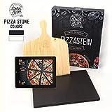 Dolce Mare Pizza Stone - Piedra para Pizza de Cordierita Horno y la Parrilla - Ladrillo para Pizza crujiente como en el Caso de la Pizza Italiana - Incluye Deslizador para (Black)