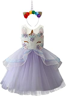 Kid Girl Flower Tulle Birthday Unicorn Outfits Mythical Costume Cosplay Pageant Tutu Princess Dress up Headband Party Gown
