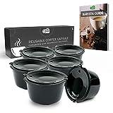 Green BEANS Cápsula de café de plástico reutilizable con colador de acero inoxidable para cafeteras DOLCE GUSTO Juego de 6 + Guía del barista GRATIS [E-Book]