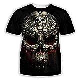 LIUBAOBEI 3D Camisetas para Hombre,Skeleton Skull Pattern Men's T-Shirt Summer Fashion Short-Sleeved 3D Round Neck Tops Men's Short Sleeve Hip Hop Streetwear-4Xl