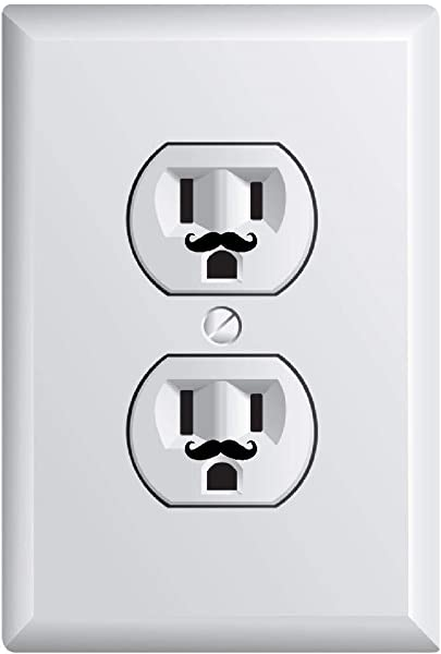 Mustache Outlet Funny Vinyl Sticker Decal Cute Wall Art 24 Pieces 12 Outlets