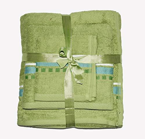Exotic Cotton Juego de Toallas de Baño L 100 x 150 cm de Algodón Egipcio – 3 Piezas de Secado Rápido – Toalla de Cara 30x50 cm, Toalla de Mano 50x100 cm y Toalla de Ducha 100 x 150 cm – Toallas Verdes