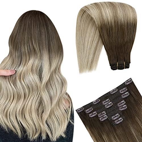 Extention Cheveux Naturelles Clip Balayage Extension Clip Cheveux Marron Foncé Ombre Blond Doré mixte Blond Platine Remy Hair Extension a Clip 18 Pouc