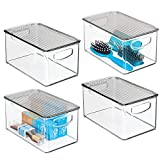 mDesign Plastic Stackable Bathroom Storage Box with Handles, Lid - Holds Soap, Body Wash, Shampoo, Lotion, Conditioner, Hand Towels, Hair Accessories, Body Spray - 10' Long, 4 Pack - Clear/Smoke Gray