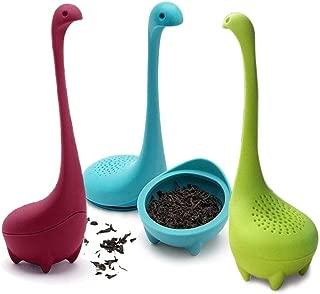 JDD RebirthTree 3 filtros de té Nessie, de silicona, con mango largo y colador para hojas sueltas, té, hierbas, etc. (azul, verde y lila)