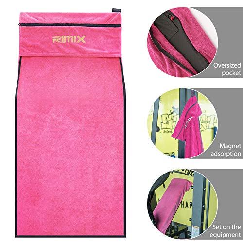 HINATAA Sporthandtuch, 100 % ägyptische Baumwolle, schnell trocknend, für Fitnessgeräte, Tasche für Smartphone und Schlüssel, Fitness-Workout, Schweißhandtücher für Damen und Herren (Pink)