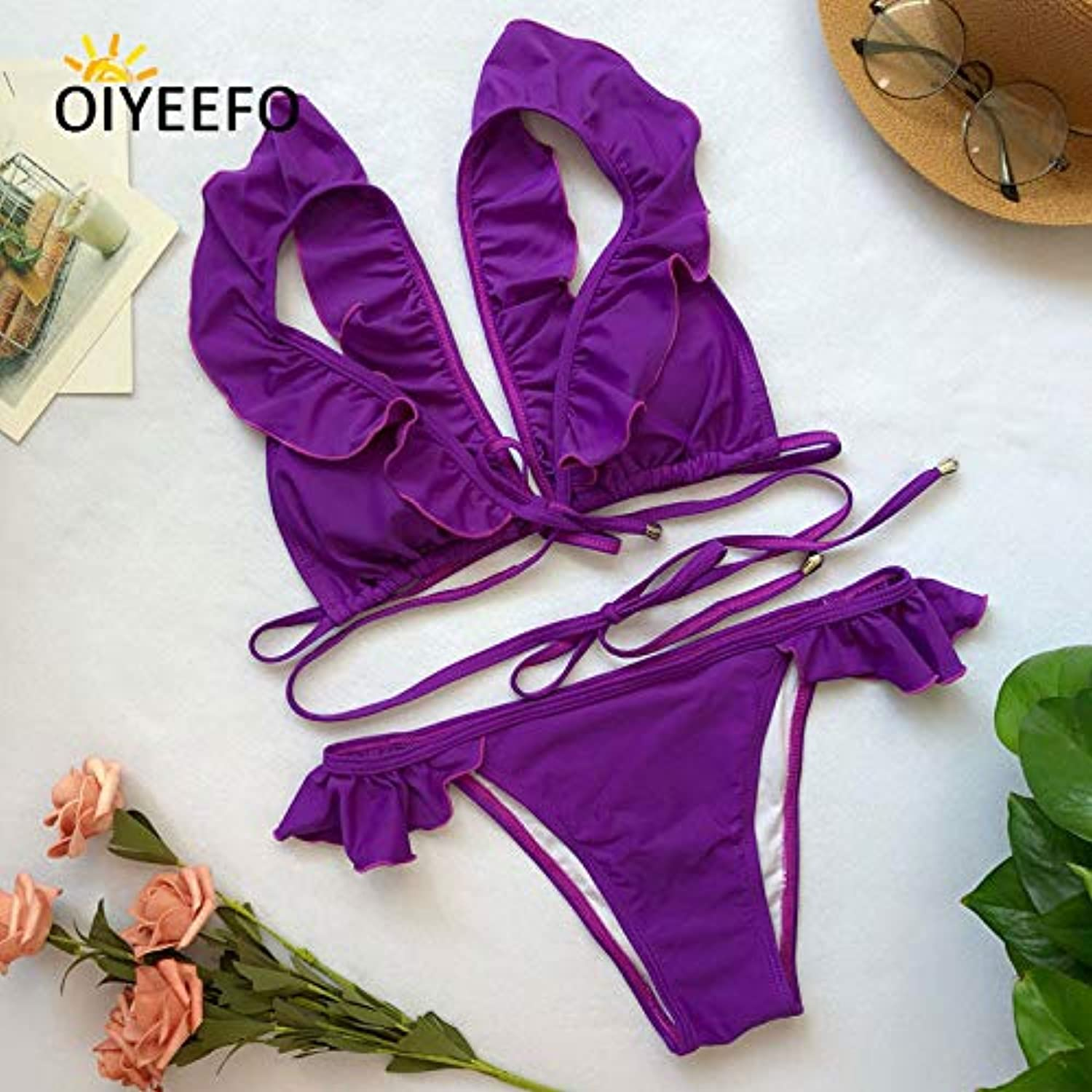 7fca7363a76 HITSAN Oiyeefo colors Shiny Green Ruffle Bikini Brazilian Flounce Frilly  Swimsuit Straps Swimwear Female Swim Women Beach May color Purple Size L  Suit 4 ...