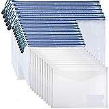 MonQi 25 Piezas Bolsas de Documentos, Carpetas para Archivo Documentos de plástico con Malla, 5*A3+10*A4 Bolsa de Archivo de Cremallera +10* Carpetas Plástico A4 con Botones (Transparentes) (25pcs)