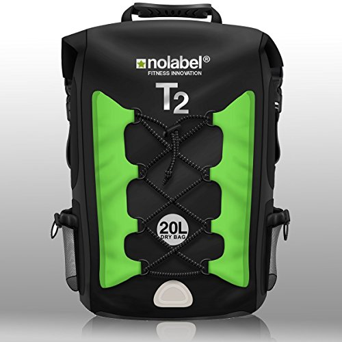 No Label Mochila Deportiva de 20L Impermeable - T2 Mochila para Ciclismo Running Triatlón y Deportes acuáticos. Protege del Polvo, la Arena, el Agua y la Suciedad Color Negro/Verde, tamaño