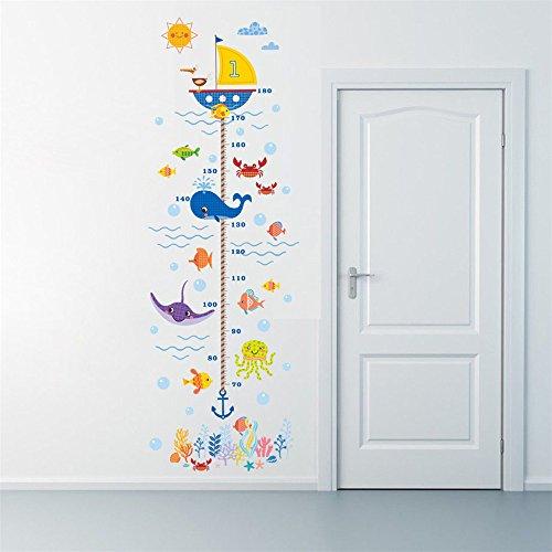Rainbow Fox Altezza grafico Adesivi da muro Carina subacqueo Animali misurare grafici per...