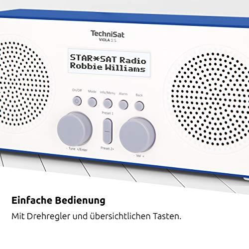 TechniSat VIOLA 2 S - tragbares DAB Radio (DAB+, UKW, Wecker, Stereo Lautsprecher, Kopfhöreranschluss, Aux-In, zweizeiliges Display, Tastensteuerung, 4 Watt RMS) weiß/blau