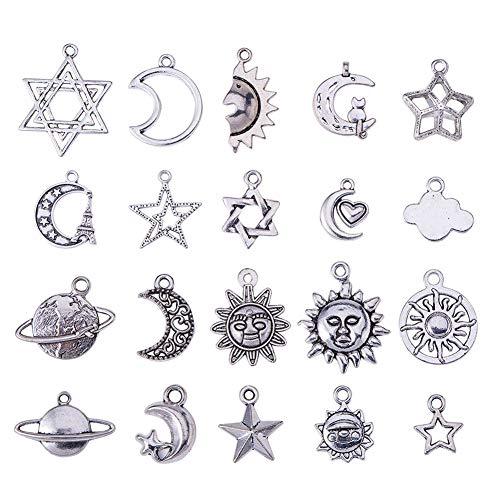 PandaHall Elite 40 pcs Tibetan Style Moon Star Charms Sun Universe Series Theme Alloy Pendants For Jewellery Making Or Necklace Making, Antique Silver Color,Mixed Size