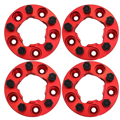 Espaciadores centrales de rueda de aluminio anodizado Winchmax de 30 mm. rosca 16 x 1,5 mm, diámetro central 125 mm. Color negro metalizado para Defender, Discovery 1, Classic. Rojo T1