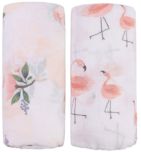 Little Jump Bamboo Muslin Swaddle Blankets - 2 Pack Floral & Flamingo Print Baby Swaddle Wrap for Girl Shower Gift (Floral & Flamingo)