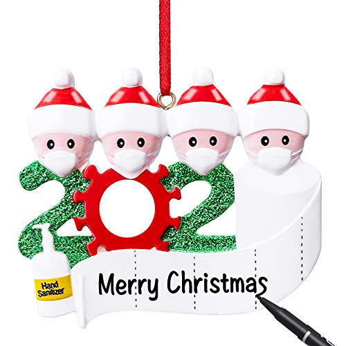 Personalized Christmas Decorations 2020 Quarantine Survivor Family Hanging Ornaments with Face Mask DIY Xmas Gift Customize Words Yourself with Pen for Family Creative Christmas Tree Party Decor