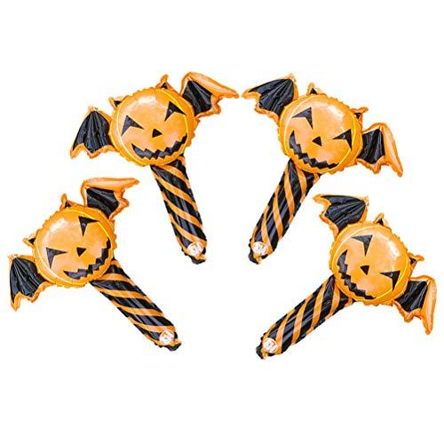 TOYANDONA 4 Stück Halloween Ballon Sticks Teufel Kürbis Cartoon Cute Kinder Spielzeug Folienballon Handheld Ballon Party Supplies für Kinder Home Decor Erwachsene