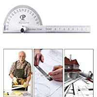 YANHUA 180 Degree Angle Ruler Round Head Rotary Protractor 100mm Adjustable Universal Stainless Steel Measuring Tool