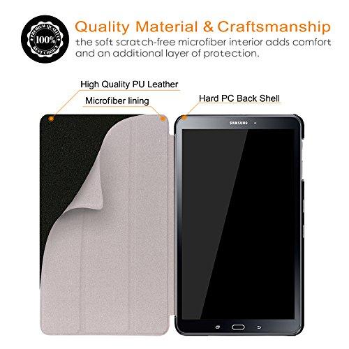 Xuanbeier Ultradünne Hülle Kompatibel mit Samsung Galaxy Tab A 10.1 2016 SM-T580/T585 (A6) Tablette Schutzhülle mit Ständer und Auto Schlaf/Wachen Funktion,Nebel