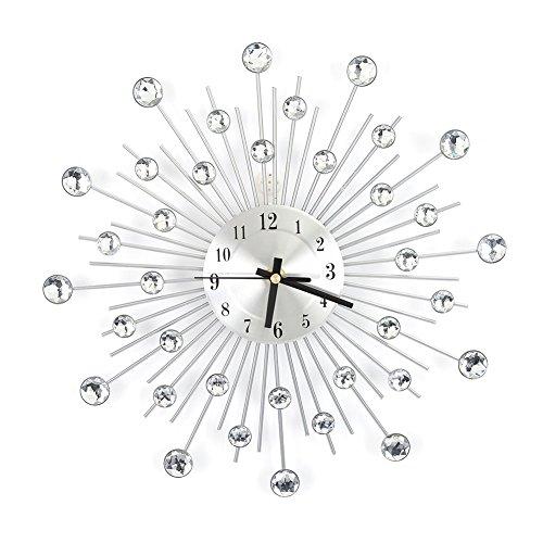 Cocoarm Metall Wanduhr Wohnzimmeruhr mit Diamanten Blume Wanduhren Küchenuhr Moderne Wohnzimmeruhr 3D Diamanten Dekorative Uhr Nicht tickende Stille Wanduhr Wohnzimmer Home Büro Dekor (Silber)