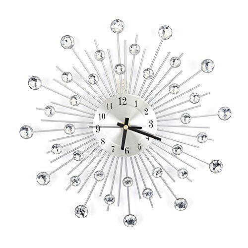 Ejoyous Diamond-studded Wall Clock, Modern Fashion Round Design Silver Diamond Clock Décor, Metal Art Dial 3D Crystal Mute Wall Clock, Metal Needle Wall Décor Clock for Living Room Bedroom, Crystal