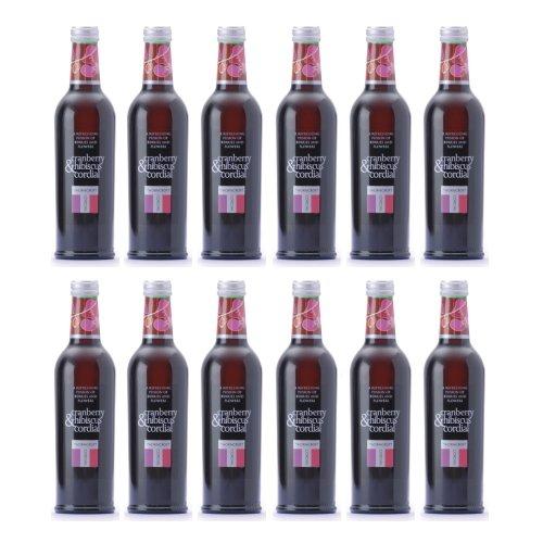 ソーンクロフト ハーブコーディアル(THORNCROFT HERB CORDIAL) クランベリー&ハイビスカス グラス(ビン) 1ケース(375ml×12本) [イギリス産]