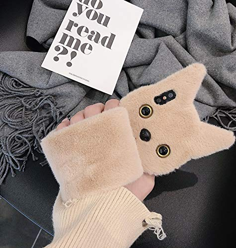 Check Out This Fuzzy iPhone Xs Max Case, iPhone Xs Max Fluffy Cat Ear Cases, Cute Furry Brown Plush ...