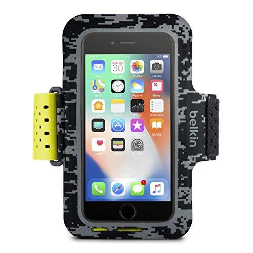 Belkin Sport-Fit Pro Fitness-Armband für iPhone8Plus/7Plus/6sPlus/6Plus (Smartphone frei zugänglich, geeignet für Hüllen, verstellbare Größe, schweißresistentes Fach für Karten/Kleingeld) schwarz