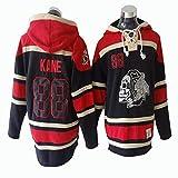 Gmjay Camiseta de Manga Larga NHL Chicago Blackhawks Patrick Kane # 88 Jersey Negro con Capucha Trikot Cosido Letras Números NHL,Black,L