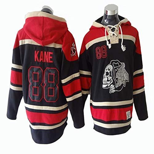 Gmjay NHL Chicago Blackhawks Patrick Kane # 88 Schwarzer Kapuzenpulli Trikot Genähte Buchstaben Zahlen NHL Langarm-T-Shirt,Black,XL