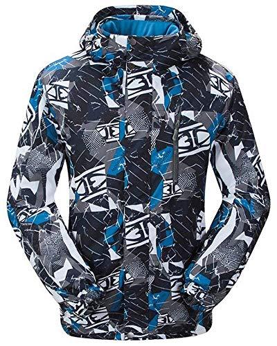 NEWISTAR Snowboardjacke für Männer Skijacke mit Abziehbaren Kapuzen Atmungsaktiv Wasserabweisend Blaugrau Outdoorjacke Wanderjacke L