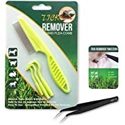 BINGPET Tick Remover Tool Set for Dogs, Cats and Humans - 3 Pack of Tick Removers, 1 Pack of Flea Comb and 1 Pack of Tweezers