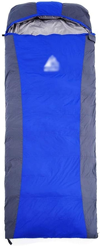 Camping Schlafsack Mit Kapuze 3-4 Jahreszeiten Erwachsene Wasserdicht Atmungsaktiv Warmes Licht Umschlag Schlafsack Baumwolle Pad Für Outdoor Wandern Urlaub Blau ( Farbe   Blau , gre   1500g )
