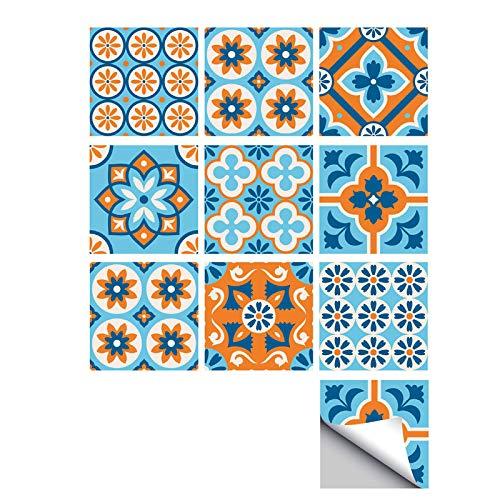 Ancoree Textura Retro Naranja Azul Baño Baldosas Adhesivos-Teja Extraíble Transfers-Cocina Azulejo Calcomanías-Auta Adhesivo Pared Arte Cine-Pegatinas DIY Impermeable-20x20cm-10Piezas